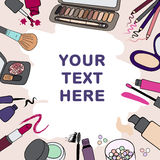 Background, frame with makeup cosmetics products and stokes Stock Photos