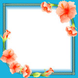 Background frame with ornament and flowers Royalty Free Stock Photo
