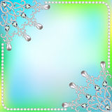 Background  frame with ornaments made of precious stones and pea Royalty Free Stock Photography