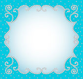 Background frame with pearls and precious stones Royalty Free Stock Photography