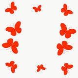 Background or frame with red flying butterflies.  stock illustration