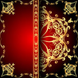 Background frame red with gold(en) pattern Stock Photos