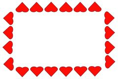 Background of a frame of red hearts Royalty Free Stock Photos