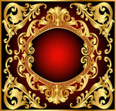 Background Frame Red With Gold(en) Pattern Royalty Free Stock Photos