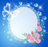 Background with frame, roses and butterfly Royalty Free Stock Photography