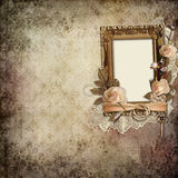 Vintage background with frame, roses and rings Stock Images