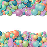 Background frame with scatterd messy glowing rubber balls. Background with scatterd messy glowing rubber balls royalty free illustration