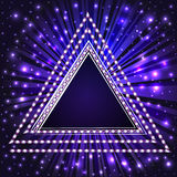 Background frame with a triangle with precious stones and beams Royalty Free Stock Photography