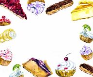 Background with frame of watercolor desserts. Watercolor cupcake, muffin, profiteroles with cream, Eclair in chocolate. Glaze Stock Image