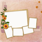 Background with frames and flowers Royalty Free Stock Photography