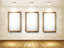 Background with frames and spotlights. Stock Photo