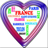 Background. France in the Europe and France's cities as background, with form of the heart Royalty Free Stock Photos