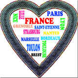 Background. France in the Europe and Frances cities as background, with form of the heart Royalty Free Stock Photo