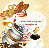 Background with fresh bakery, coffee and sweets Stock Images
