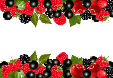 Background with fresh berries and cherries. Royalty Free Stock Photos