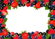 Background with fresh berries and cherries. Royalty Free Stock Photography