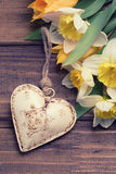Background with fresh daffodils and tulips and decorative heart Stock Photos
