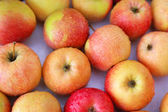 Background with fresh delicious juicy red apples. Stock Photography