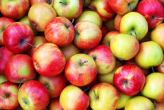 Background with fresh delicious juicy red apples. Royalty Free Stock Images
