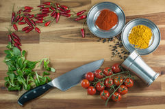 Background fresh food preparation theme on wood Royalty Free Stock Photo