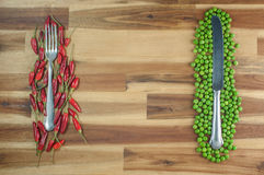 Background fresh food preparation theme on wood Royalty Free Stock Photos