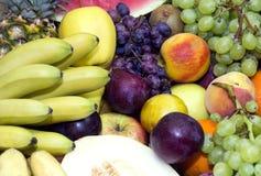 Background of fresh fruits. Bunch berry banana stock photo