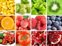 Background of fresh fruits and vegetables Stock Images