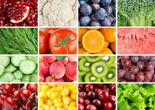 Background of fresh fruits and vegetables Stock Photography