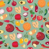Background of fresh and healthy food. Vegetables pattern in flat Royalty Free Stock Photos