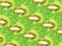 Background of fresh kiwi slices and green leaf Stock Photography