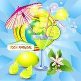 Background with fresh lemon juice stock illustration