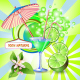 Background with fresh lime juice Royalty Free Stock Photography