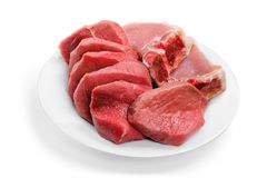 Fresh Raw Meat Background on white background. Background fresh meat raw group objects market royalty free stock photography