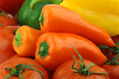 Background of fresh orange paprika's (capsicum) Stock Photography