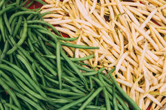 Background Of Fresh Organic Green And Yellow Beans Royalty Free Stock Photos