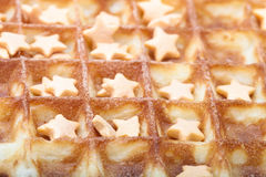 Background of fresh ruddy waffel with stars Stock Photo