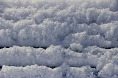 Background of fresh snow macro close up with copy space stock photography