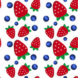 Background  fresh strawberries and blueberriesof Stock Photography