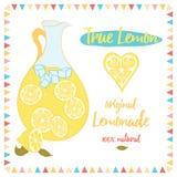 Background with fresh summer lemonade and text. True Lemon. Original Lemonade. Royalty Free Stock Image