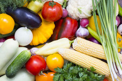 Background of fresh vegetables. And greens closeup Stock Photography