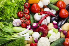 Background of fresh vegetables. Greens and tomatoes Royalty Free Stock Images