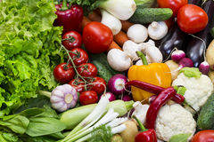 Background of fresh vegetables. Greens and tomatoes Royalty Free Stock Photo