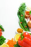 Background of fresh vegetables on a white surface Royalty Free Stock Photos