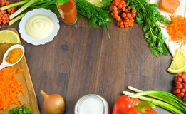 Background of fresh vegetables on wooden board Stock Photos