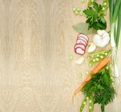 Background with fresh vegetables on wooden texture Stock Image
