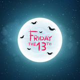 Background for Friday 13. Bats fly against the background of the full moon. Creepy concept. Bloody text in grunge style. The starry sky. Vector illustration Royalty Free Stock Image