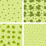 Background with frogs. Green background with frogs and hearts Stock Photo
