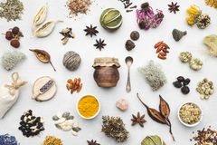 Free Background From Dry Medicinal Herbs, Plants, Roots, Ingredients For Making Herbal Medicine Remedies. Stock Images - 140930334