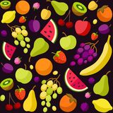 Background, fruit, berries, black, colored. Royalty Free Stock Photos