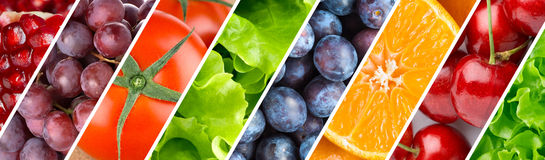 Background of fruits, berries and vegetables Stock Images